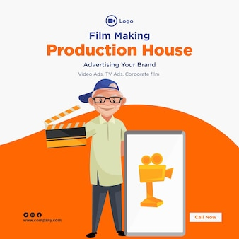 Ontwerp van de banner van de sjabloon voor het maken van films