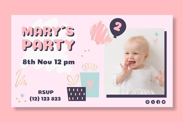 Ontwerp van de banner van de verjaardag van kinderen