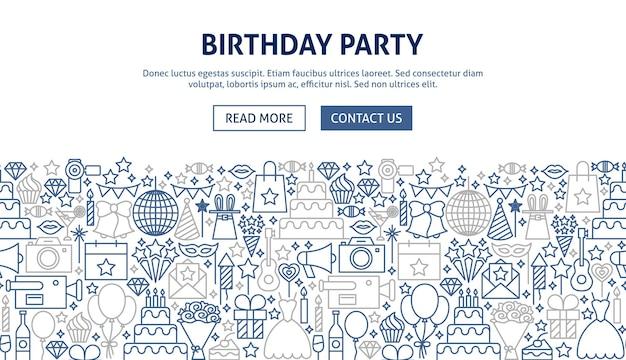 Ontwerp van de banner van de verjaardagspartij. vectorillustratie van lijn webconcept.