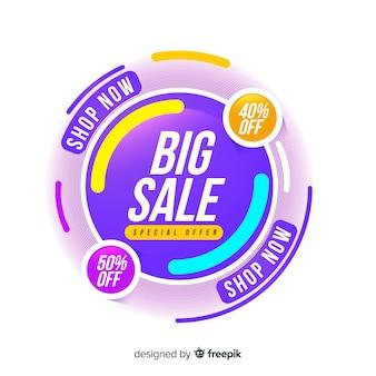 Ontwerp van de banner van de verkoop in abstracte kleurrijke stijl