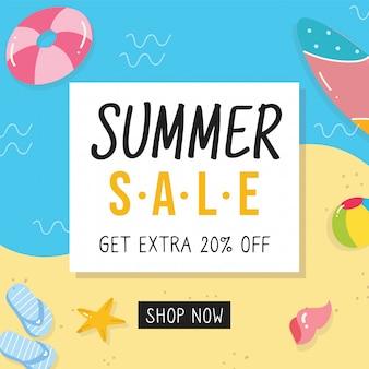 Ontwerp van de banner van de zomer verkoop met doodle elementen