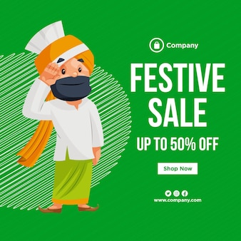 Ontwerp van de banner van festival verkoop cartoon stijlsjabloon