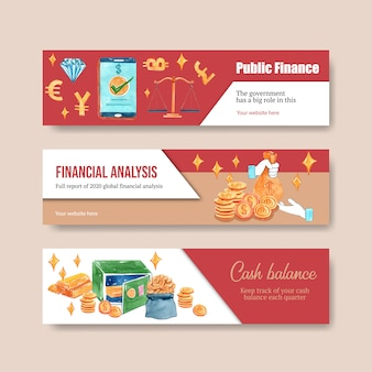 Ontwerp van de banner van financiën met valuta, zakelijke, bank- en zakelijke aquarel illustratie.