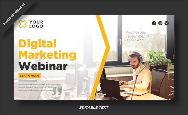 Ontwerp van de banner van het digitale marketingwebinar