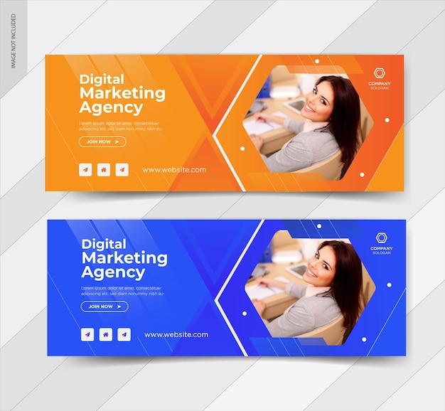 Ontwerp van de banner van het web van digitale marketingbureau