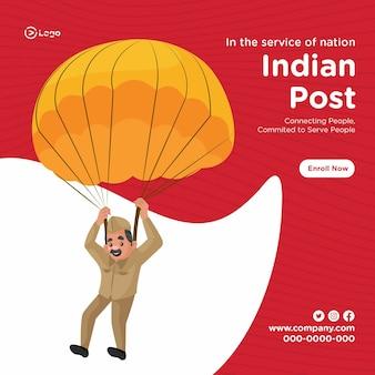 Ontwerp van de banner van indiase postservice cartoon stijlsjabloon