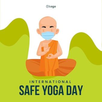 Ontwerp van de banner van internationale veilige yoga dag sjabloon