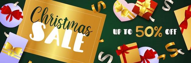Ontwerp van de banner van kerstmis verkoop met gouden badge