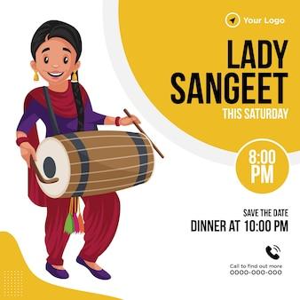 Ontwerp van de banner van lady sangeet sjabloon grafische afbeelding