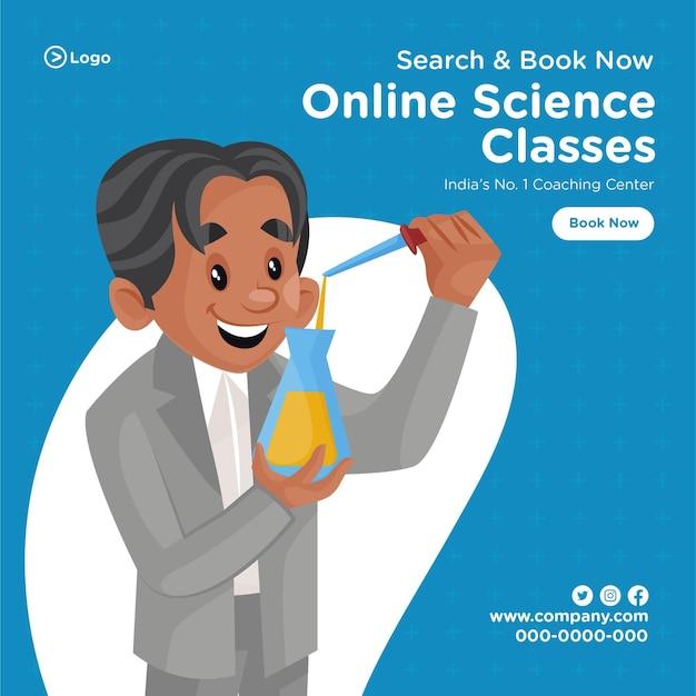 Ontwerp van de banner van online wetenschap klassen coaching centrum cartoon stijlsjabloon