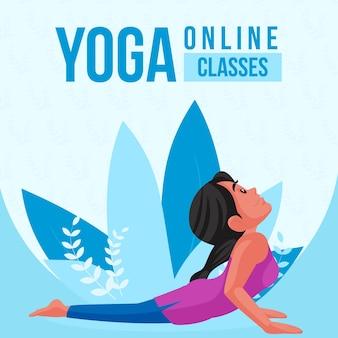 Ontwerp van de banner van online yogalessen