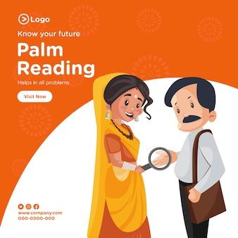 Ontwerp van de banner van palm lezen cartoon stijlsjabloon