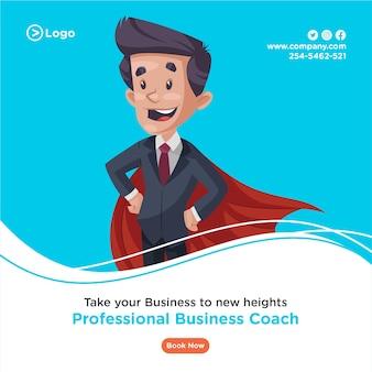 Ontwerp van de banner van professionele business coach die een superheld cape draagt.