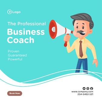 Ontwerp van de banner van professionele business coach met zakenman aankondigen op een megafoon