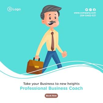 Ontwerp van de banner van professionele business coach met zakenman die een aktetas in de hand houdt en voor het kantoor gaat