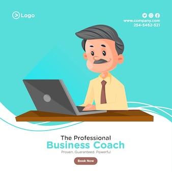 Ontwerp van de banner van professionele business coach met zakenman die op laptop werkt