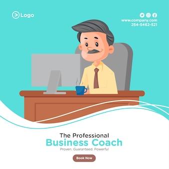 Ontwerp van de banner van professionele business coach met zakenman die werkt op de computer op kantoor