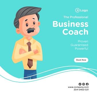 Ontwerp van de banner van professionele business coach met zakenman in de war