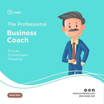 Ontwerp van de banner van professionele business coach met zakenman jas broek dragen en klaar voor het kantoor