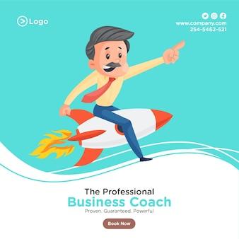 Ontwerp van de banner van professionele business coach met zakenman vliegen op de raket