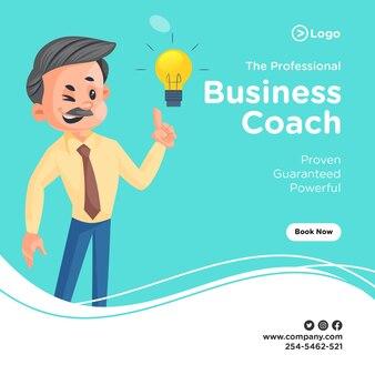 Ontwerp van de banner van professionele business coach met zakenman
