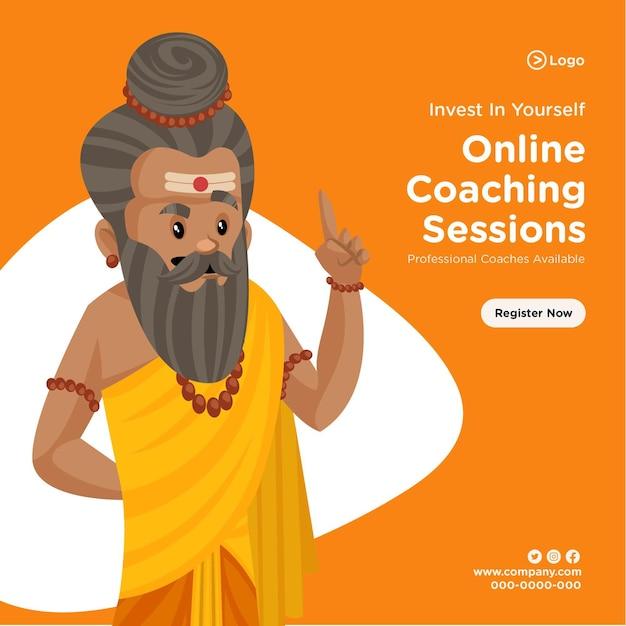 Ontwerp van de banner van professionele online coaching sessies sjabloon