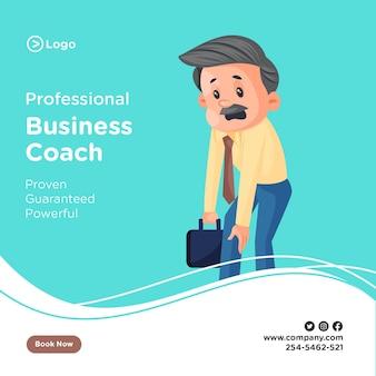 Ontwerp van de banner van professionele zakelijke coach de zakenman is moe