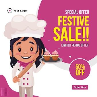 Ontwerp van de banner van speciale aanbieding festival verkoop cartoon stijlsjabloon