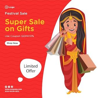Ontwerp van de banner van super festival verkoop op geschenken