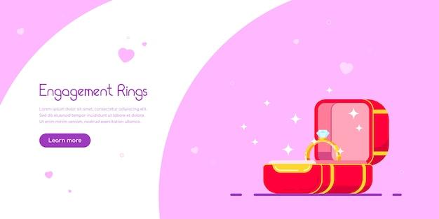 Ontwerp van de banner van verlovingsringen. diamanten verlovingsring in rode doos. huwelijksaanzoek en liefdeconcept. vlakke stijl vector illustratie.