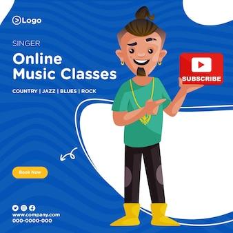 Ontwerp van de banner van zangeres online muzieklessen
