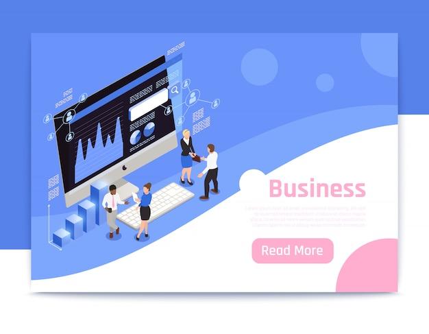 Ontwerp van de bedrijfsstrategie het isometrische pagina met marketing symbolenillustratie