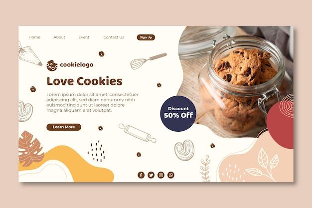 Ontwerp van de bestemmingspagina van cookies