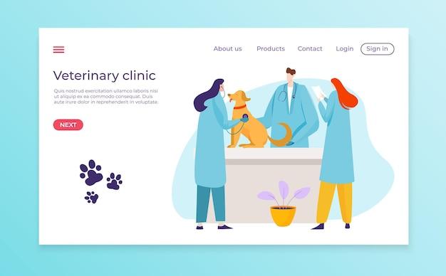 Ontwerp van de bestemmingspagina van de medische veterinaire kliniek