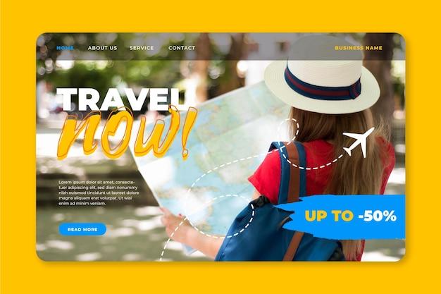 Ontwerp van de bestemmingspagina van de reisverkoop