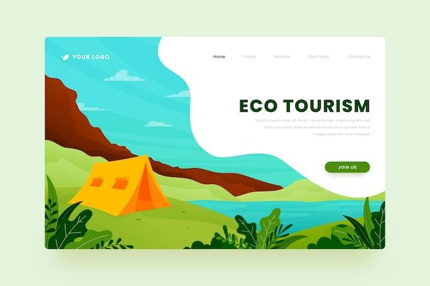 Ontwerp van de bestemmingspagina van het ecotoerisme