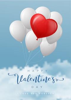 Ontwerp van de de ballons vectoraffiche van het valentijnskaarten het rode hart op blauwe hemelachtergrond voor valentijnskaartendag.