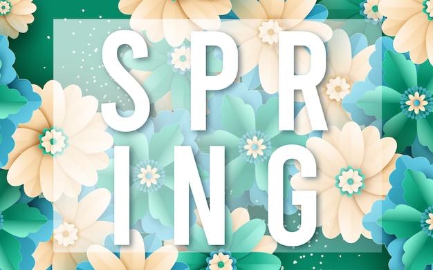 Ontwerp van de de banner het vectorverkoop van de lente met bloemen