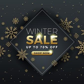 Ontwerp van de de bannermalplaatje van de de winterverkoop het achtergrond met sneeuwvlok
