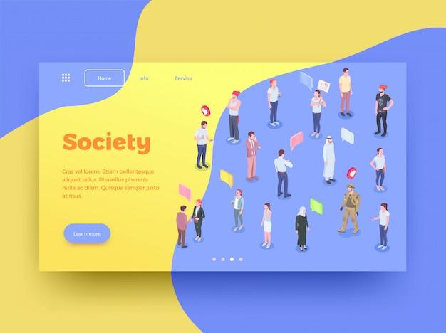 Ontwerp van de de bestemmingspagina van de maatschappijmensen het isometrische met menselijke karakters gedachte bellen en klikbare knopen vectorillustratie