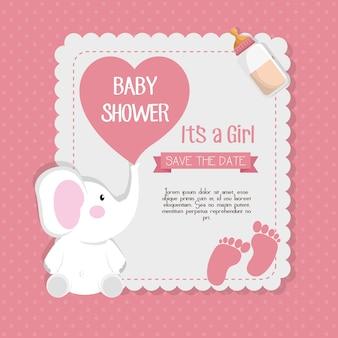 Ontwerp van de de kaart het vectorillustratie van de babydoucheuitnodiging