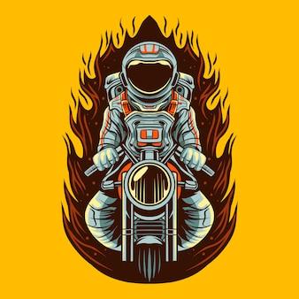 Ontwerp van de de motorfietsillustratie van de astronaut het berijdende motorfiets