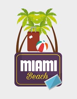 Ontwerp van de de pictogrammen vectorillustratie van miami het strand de zomer