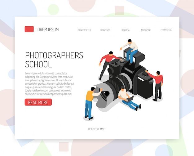 Ontwerp van de de school isometrische website van het fotografieonderwijs online de school met klassen biedt studenten en camera vectorillustratie aan