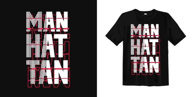 Ontwerp van de de typografiet-shirt van manhattan het abstracte