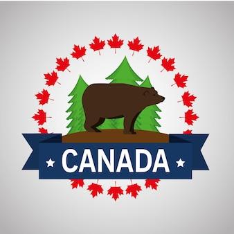 Ontwerp van de grizzly het canadees kader vectorillustratie