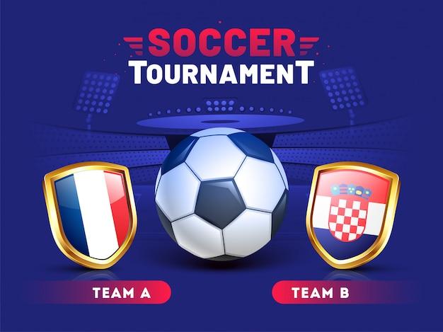 Ontwerp van de het bannermalplaatje van voetbaltoernooien met illustratie van voetbalbal en teams