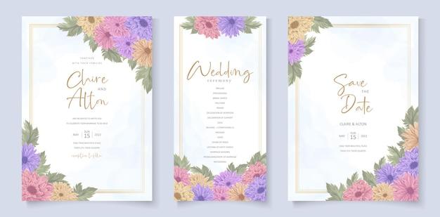 Ontwerp van de huwelijksuitnodiging met prachtig chrysantenbloemornament
