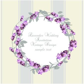 Ontwerp van de huwelijksuitnodiging van de lavendel