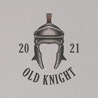 Ontwerp van de ijzeren helm retro illustratie voor t-shirtontwerp